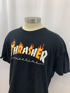 99538be38a0f Mens Thrasher Tee T Shirt Black Skateboard Magazine Short Sleeve Sz ...