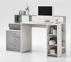 Image Is Loading Calson White And Grey Desk With Hutch