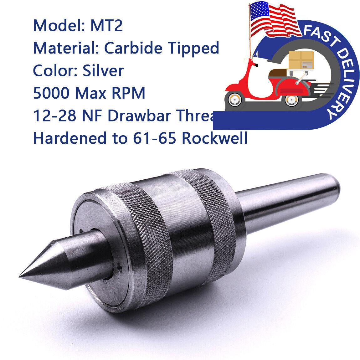 Carbide MT2 deadCenter Morse Taper Triple Bearing Lathe Chuck CNC Cutter Tool