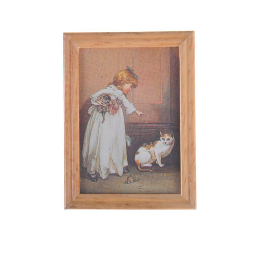Dollhouse Miniature Frame Girl and Cat Mural Wall Painting Picture Decor BS