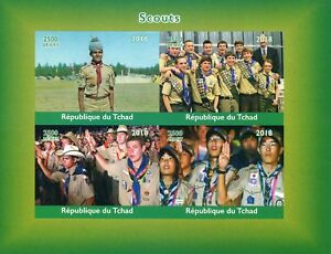 Chad-2018-MNH-Boy-Scouts-4v-IMPF-M-S-Scouting-Stamps