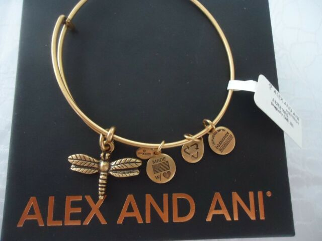 Alex And Ani Dragonfly Russian Gold Charm Bangle New W Tag Card Box