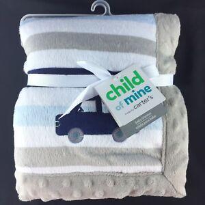 Child-of-Mine-Puppy-Dog-Truck-Blue-Gray-White-Stripe-Baby-Blanket-Carters