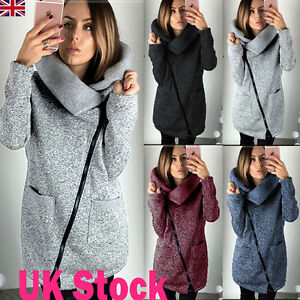 UK Women Zipper Thick Cardigan Sweater Ladies Winter Warmer Casual ...