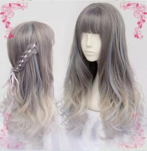 Rhapsody-Lolita-Women-Rainbow-Long-Curly-Wave-Ombre-Hair-Fluffy-Party-Wig