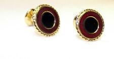 Round Chocolate Iris Black Pupil Gold Tone Cufflinks (8M)