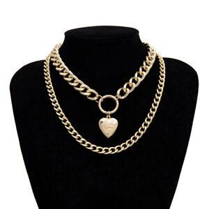 Chunky Heart Necklace Heart Coin Chunky Necklace, Chunky Silver Choker Chunky Silver Heart Pendant Necklace Silver Link Chain Choker