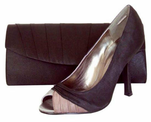 Ladies Wedding Party Heeled Shoes Evening Shoes Peep Toe Black Silver Satin NEW