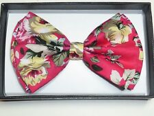 New Hawaiian Shirt Bow Tie Pink Flower Floral BowTie Luau Hawaii US SELLER