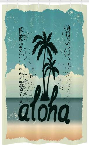 Aloha estrecho cortina de ducha suciedad-tipografía-palmeras