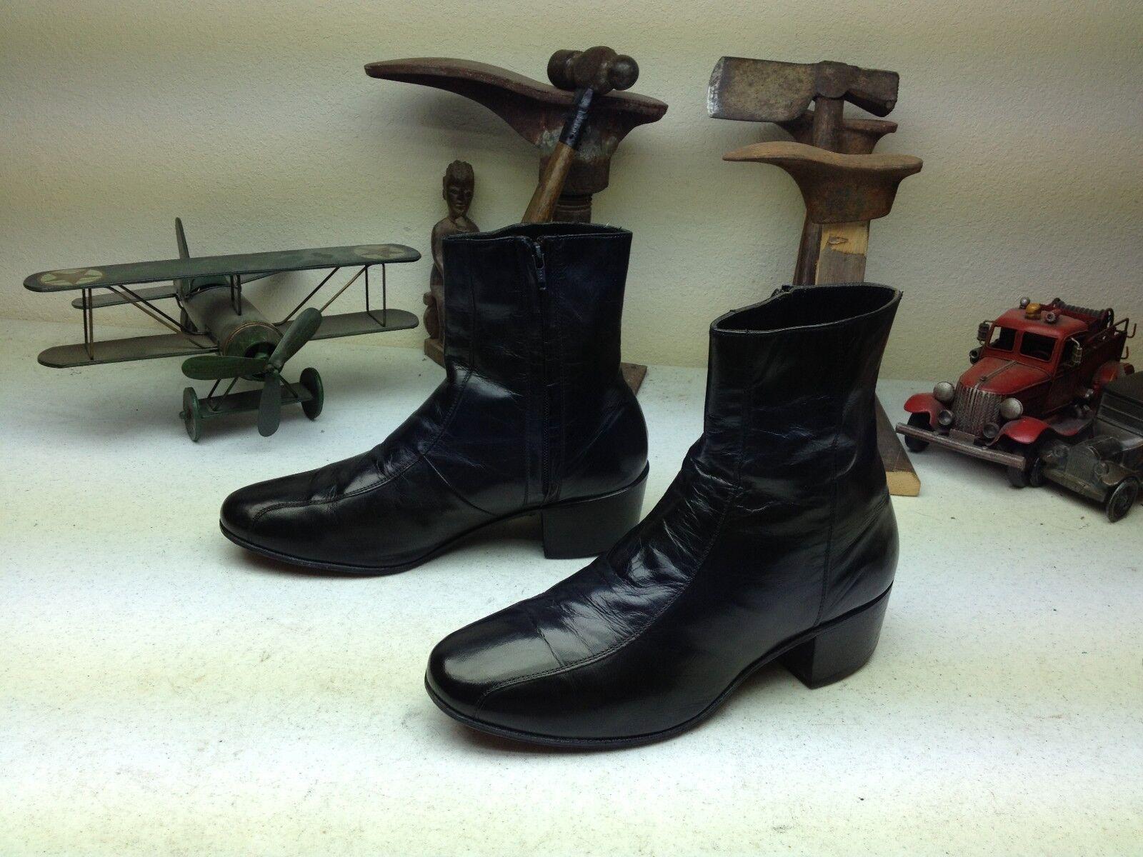 Vintage Florsheim Negro Cuero cremallera Beatle Ingeniero Hipster botas 9.5 EEE