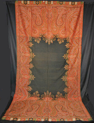 """ANTIQUE PAISLEY SHAWL 1860's  LOOMED WOOL BLACK CENTER  130"""" x 67"""""""