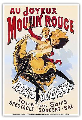 Paris France Moulin Rouge Cabaret Vintage Theater Art Poster Print