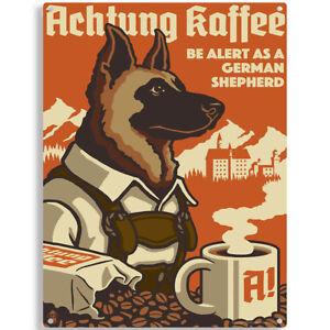German Shepherd Dog Coffee Ad Metal Sign Vintage Style Pet Decor 12 ...