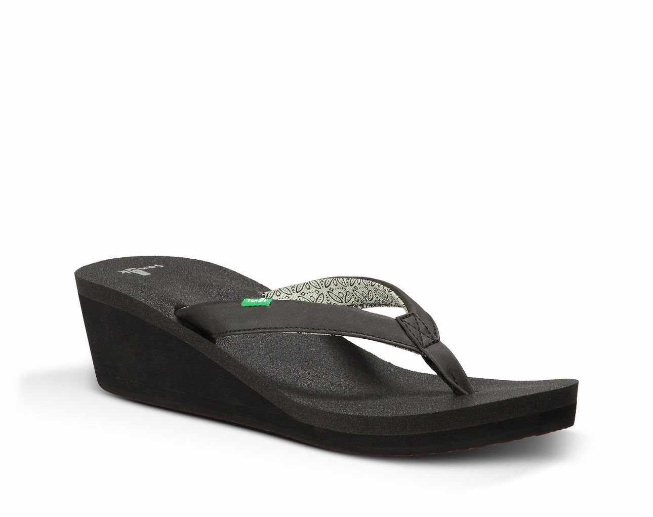 WOMENS SANUK YOGA ZEN WEDGE WEDGES. BLACK