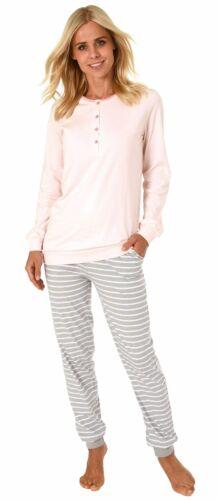 191 201 90 865 Damen Pyjama Schlafanzug mit Bündchen und mit gestreifter Hose