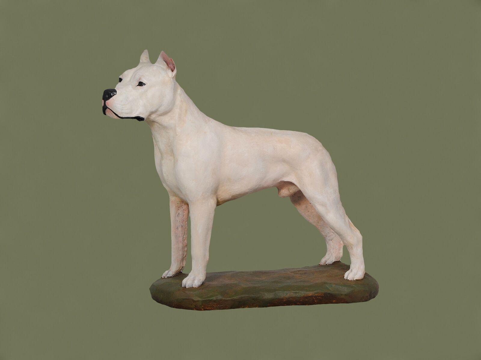 Dogo Silberino - dog painted figurine on wooden base, high quality, Art Dog