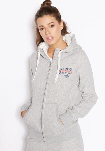 Adidas Originals Damen Hoodie Kapuzenjacke Grau Jacke AB2392 Sweatshirtjacke 3S