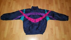 vintage-80s-GUERRIER-Nylon-Jacke-Sportjacke-Glanz-festival-Gr-XL-neuwertig