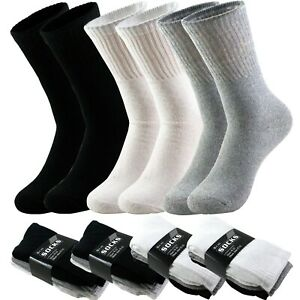 3-6-9-12-Pairs-Men-039-s-Sport-Athletic-Work-Cotton-Crew-Solid-Socks-Size-9-11-10-13
