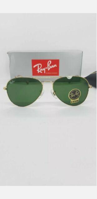 Ray Ban Sonnenbrille Aviator Meduim Metall RB gold/grüne Gläser Größe 55 Unisex NEU