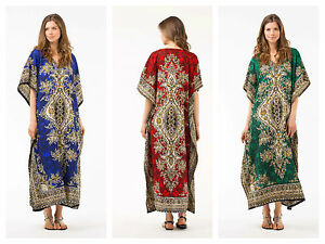 Free-Size-Kaftan-Tunic-Holiday-Dress-Beach-Cover-up-fits-14-16-18-20-22-24