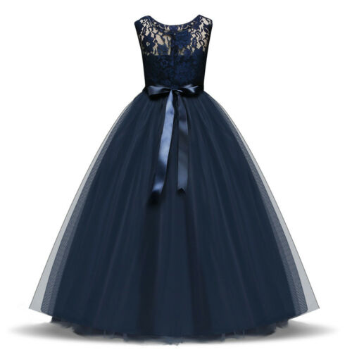 Pageant Princess Flower Girls Wedding Formal Lace Bridesmaid Party Tulle Dress