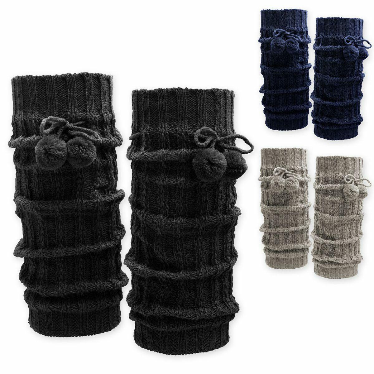 superweiche Grobstrick Bein Stulpen mit Bommeln Beinwärmer blau grau schwarz