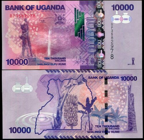 UGANDA 10,000 10000 SHILLINGS 2017 2018 P 52 NEW SIGN UNC