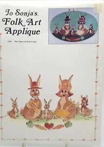 Folk-Art-Embroidery-Applique-Hares-of-Hutch-Lane-5106-New-Vintage-1983