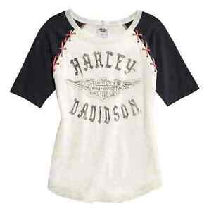Genuine amp;s B Raglan Harley T Short Laced Winged Womens davidson Tan Sleeve HwXIHxqRr