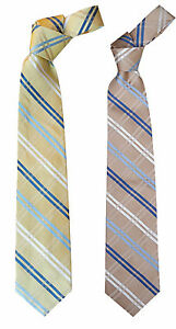 MENS-Premium-100-Silk-Tie-Yellow-Gold-Antique-Gold-Blue-Striped-3-5-034-W-58-034-L