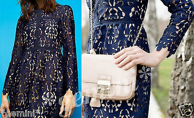 ZARA BLUE EMBROIDERED LACE GUIPURE DRESS KLEID SPITZE STICKEREI SIZE M 9775041 | eBay