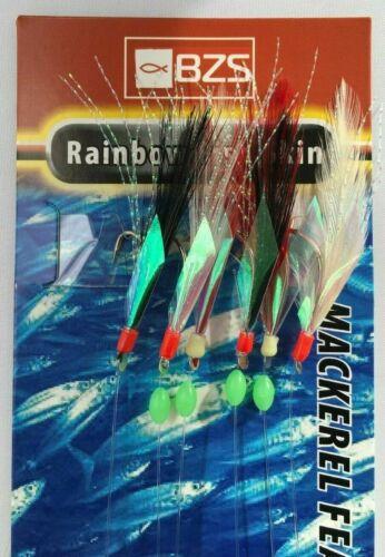 5 packets of Rainbow Fish Skin  mackerel mackeral tinsel feathers 6 hooks