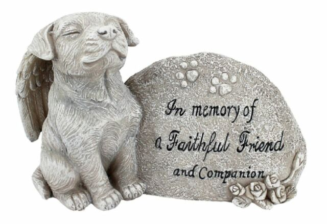 Dog Memorial Garden Statue Forever In Our Heart Sculpture Outdoor Decor Patio