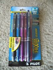 6 Pilot® FriXion Clicker Erasable Gel Pens Fine Point 0.7 mm ASSORTED INKS 14796