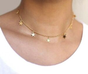 15b787a9cdaec Details about NEW BOHO SEVEN STARS GOLD SILVER SHORT LINK CHAIN CHOKER  NECKLACE UK SELLER