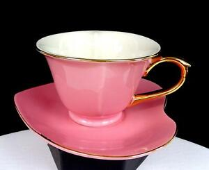 """CLASSIC COFFEE & TEA CHINA PORCELAIN HEART SHAPED PINK 2 1/2"""" CUP AND SAUCER"""