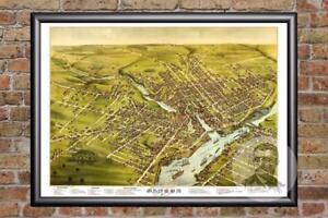 Vintage Bangor, ME Map 1875 - Historic Maine Art - Old Victorian Industrial