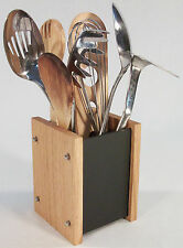 Oak Slate Design Kitchen Utensil Holder - Modern Contemporary Style