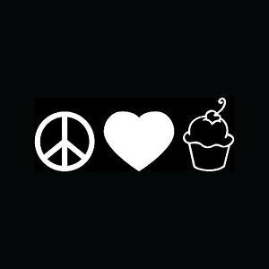 PEACE-LOVE-CUPCAKE-Sticker-Cute-Vinyl-Decal-Car-Truck-Bake-Girlie-Gift-Cake-TV