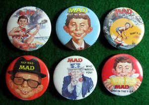 MAD-MAGAZINE-6-Promo-Pinback-Buttons-Pins-Set-RARE-1987