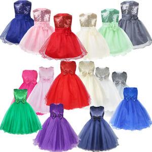 Kids Baby Flower Girls Sparkly Sequin Party Wedding Bridesmaid Tutu Tulle Dress