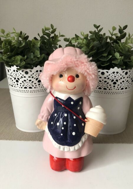 Ice cream doll Vintage Ceramic Money Box Pink Hat 20cm Tall Made In Taiwan Used