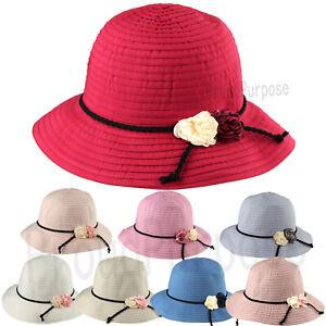 6e233163a80 New Women Fashion Flower Floppy Bucket Hat Sun Visor Wide Brim ...