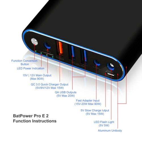 BatPower ProE 2 ES Portable Charger Power Bank for Surface Book Pro Laptop 148Wh