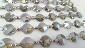 1-Yard-Satin-Grey-Chandelier-Crystals-Garland-14mm-30-Lead-Crystal