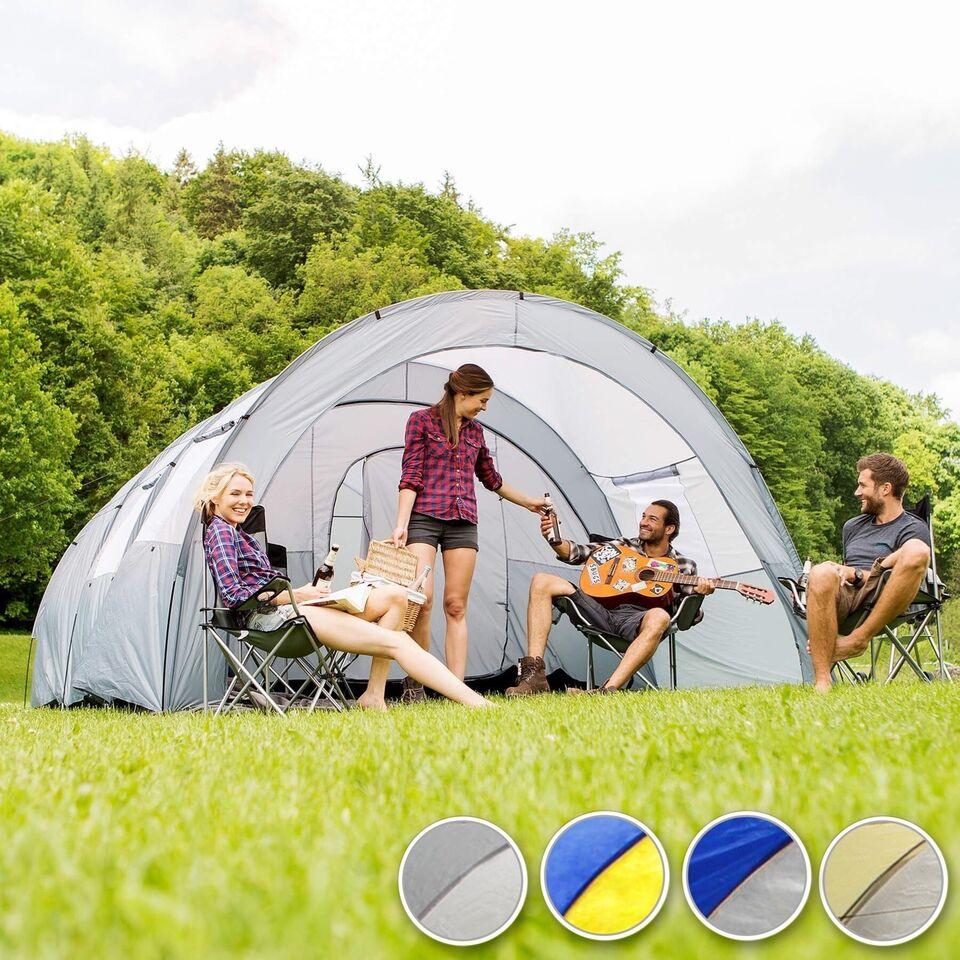 Familetelt 6 personer blå/gul