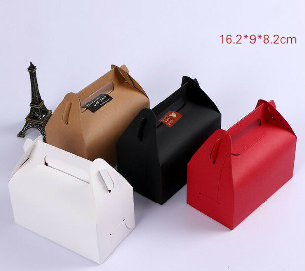 100x kraft paper boxes handle engagement bakery birthday party cake candy favour