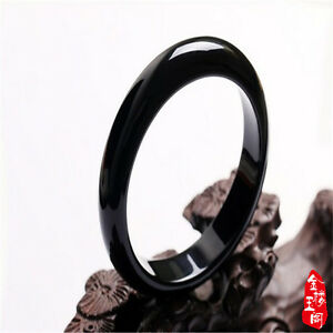 Hot-Beautiful-Natural-Black-Agate-Jade-Bangle-Bracelet